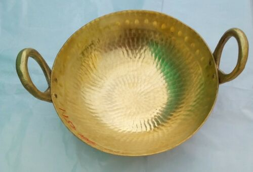 Peetal Brass Kadai Deep Frypan Cooking Pot Pan Designer Serving Wok 1Litre