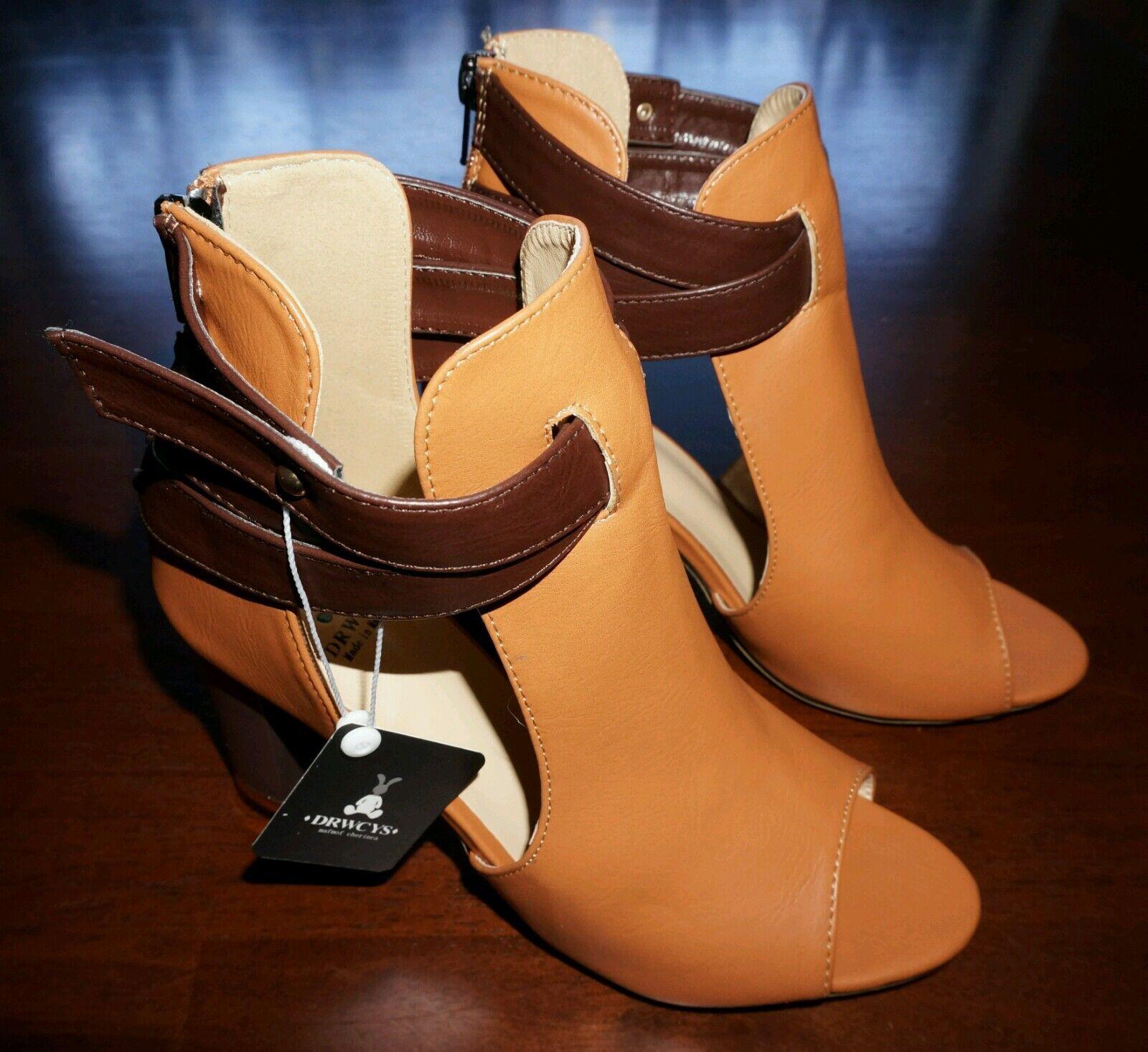 NEU Tan Chunky Heel Peep-toe Stiefel EUR 37 (Original Price 97)