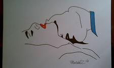 Edward kissing Bella's Neck Ink Drawing Twilight movie Expressionism