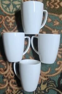 Four (4) SALT™ Brand ~ White  ~ 12 Ounce ~ Porcelain ~ Coffee Mugs/Cups