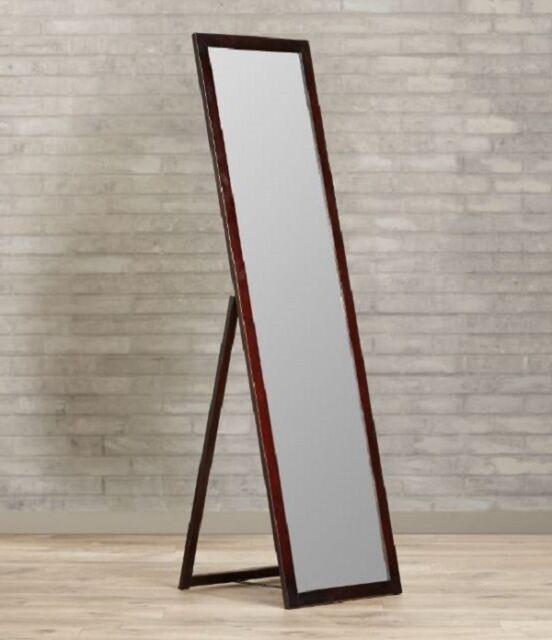 Large Full Length Mirror Floor Standing Brown Wood Frame Dressing ...