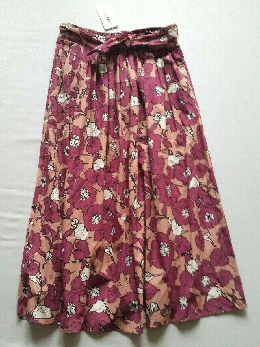 Hallhuber Long Skirt Printfalten Floral Pattern Size 38 New