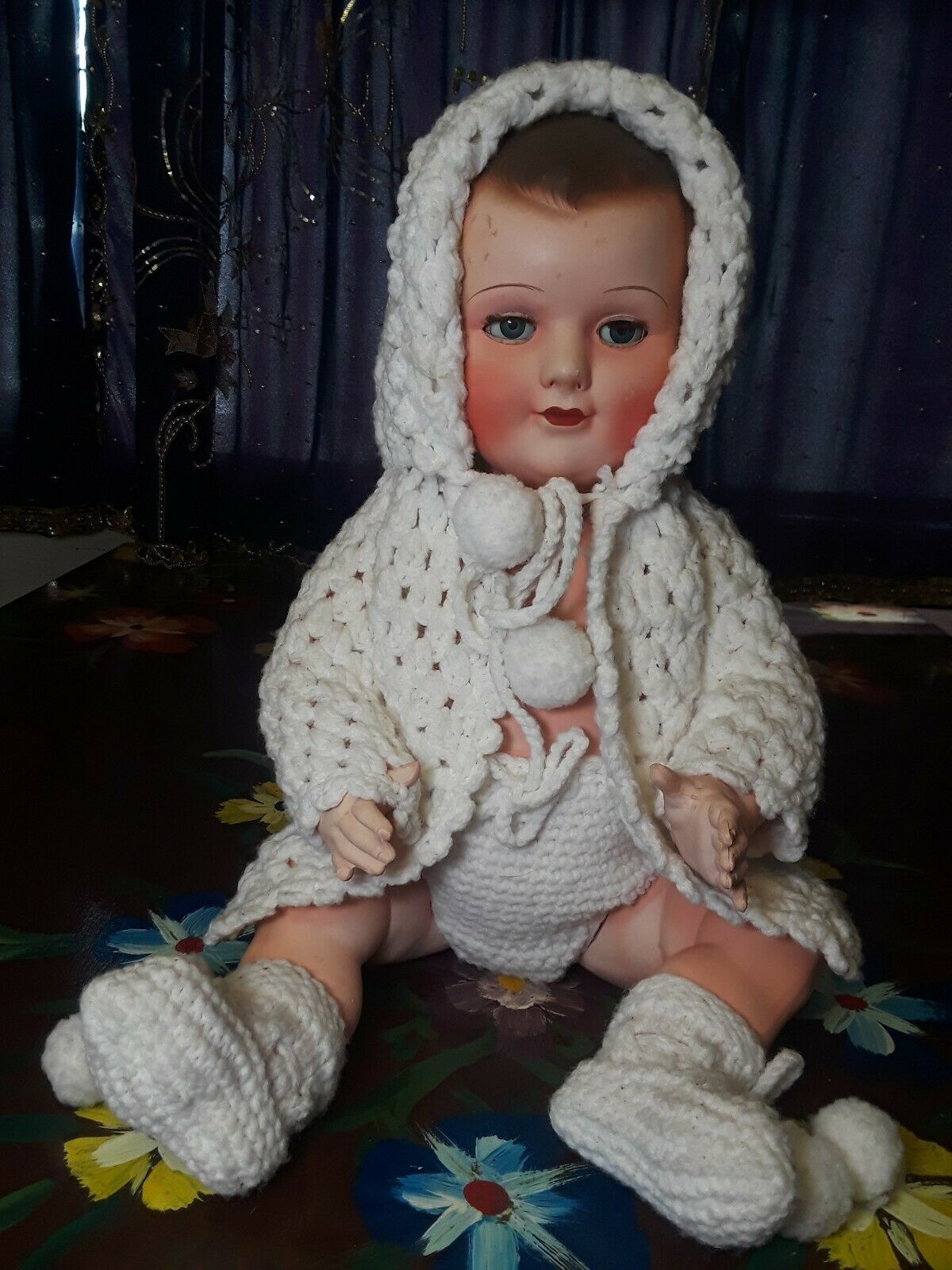 Celluloid  Hard Plastic PCP Baby Doll From France 19  Tall Circa 1930