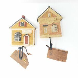 Vtg-Great-American-Aufhaenger-Holz-Geschnitzt-Handbemalt-Eisen-Haken-Wohndeko-Set