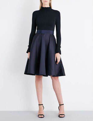 4,5 New Ted Baker Navy and Black Zadi Cocktail Dress Sz 2