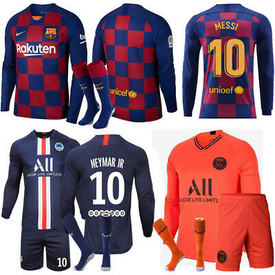 19-20 Messi Football Jersey Full Kit Strip Kid Boy Soccer Training Sport Outfits