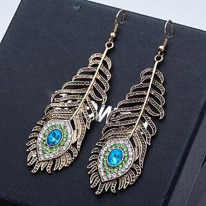 EG-Vintage-Women-Rhinestone-Peacock-Eye-Feather-Dangle-Hook-Earrings-Gift-Glitz