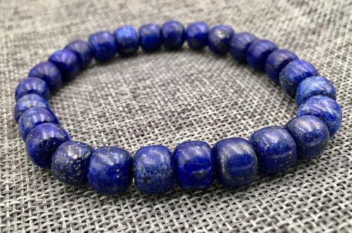 """Rétro Véritable 8x8mm Naturel Lapis Lazuli Bracelet 7.5/"""" AAA"""