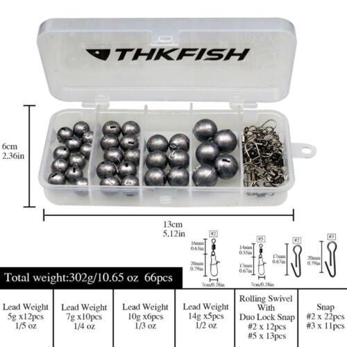 46pcs//66pcs Lead Fishing Sinker Bullet Weight 5g 7g 10g 14g 20g Fishing Tackle
