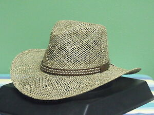 Image is loading NEW-BLACK-CREEK-BC9006-SEAGRASS-STRAW-FEDORA-COWBOY- 40cdd20d75ab