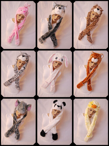 ANIMAL HATS WITH GLOVES 9 DIFFERENT HATS AVAILABLE WINTER SNOW FLEECE LINED