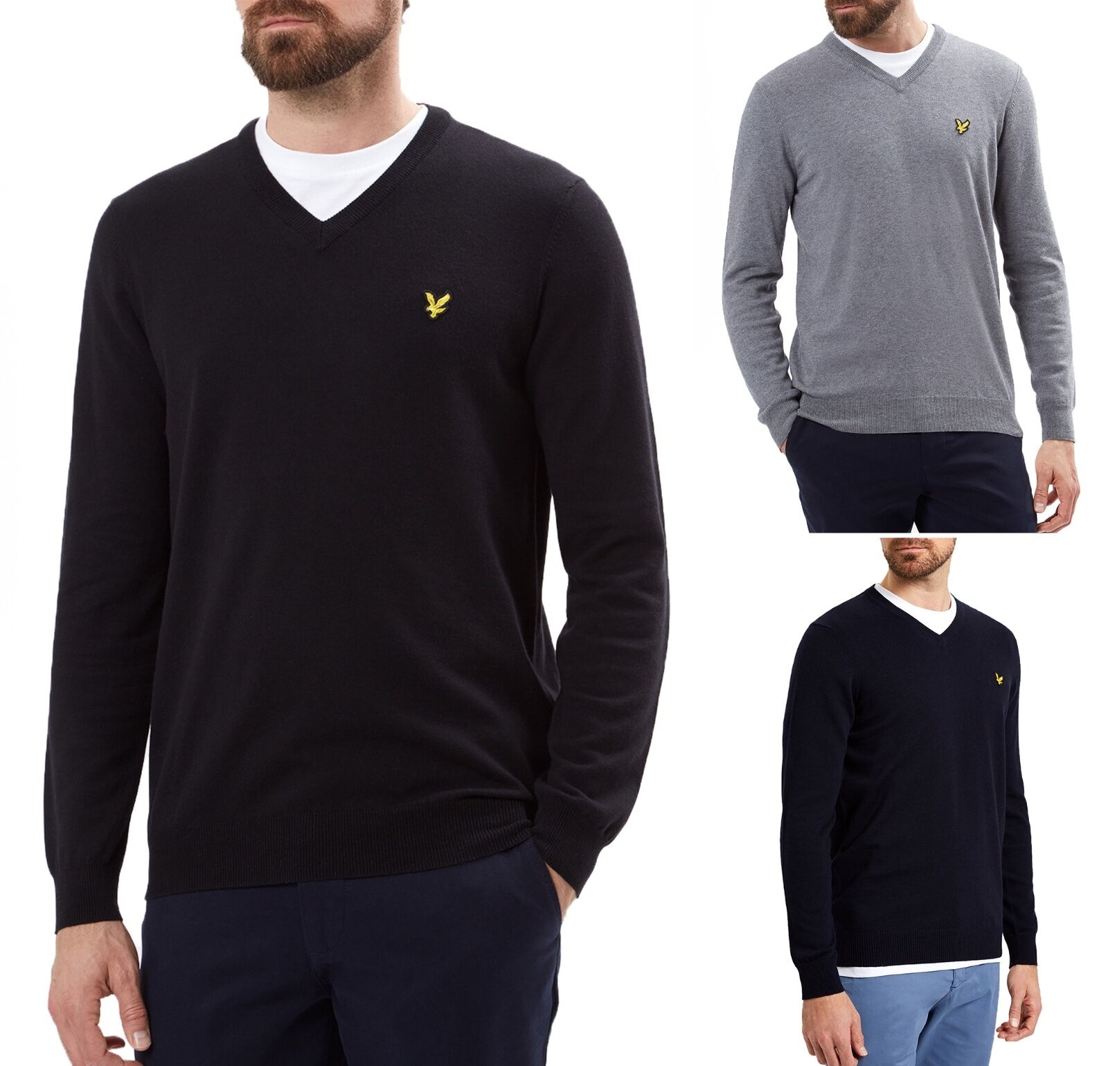 Lyle & Scott New Mens Regular Fit Cotton Merino Wool Blend V-Neck Jumper Sweater