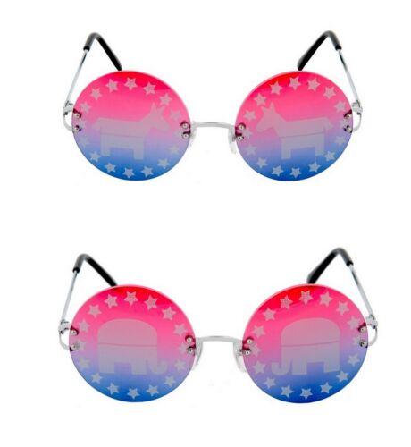 DEMOCRAT or REPUBLICAN Rimless Political Costume Glasses Novelty Sunglasses