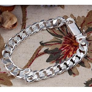 925Sterling-Silver-Solid-Silver-10MM-Square-Agraffe-Men-Chain-Bracelet-8-034-YH032