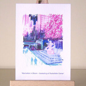Christmas-New-York-cityscape-pink-Holiday-Fauvism-NYC-drawing-ACEO-art-card