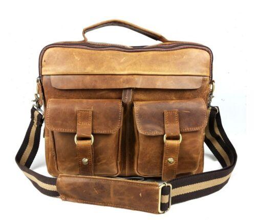 207 Men/'s Vintage Crazy Horse Leather Briefcase Messenger Shoulder Bag Tote