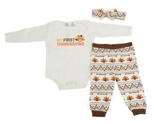 d33c8d3a4 Unique Baby Girls My First Thanksgiving Layette Set with Headband ...