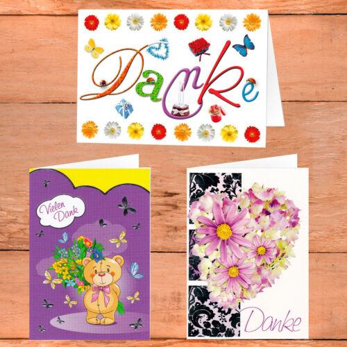 Grußkarten Danke Dankeschön Karten Dankeskarten mit Briefumschlag