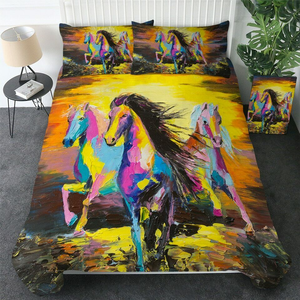 Watercolour Kunst Horse Wild Lake Double Single Quilt Duvet Pillow Startseite Bett Set