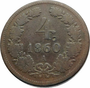 1860-AUSTRIA-KING-FRANZ-JOSEPH-I-Antique-Genuine-4-Kreuzer-Austrian-Coin-i74820