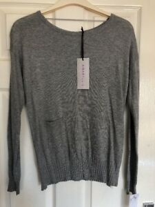AMARYLLIS-Grey-Jumper-Back-Button-Detail-Small-New-With-Tags