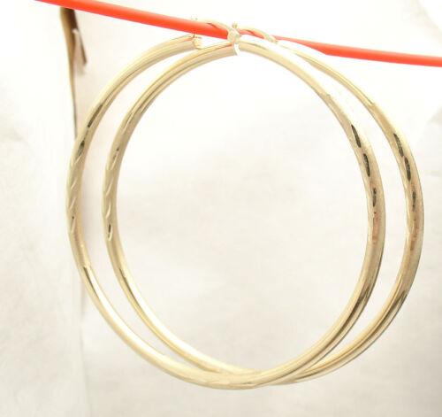 "2 1//2/"" 3mm X 65mm Large Diamond Cut Hoop Earrings REAL 14K Yellow Gold Free Ship"