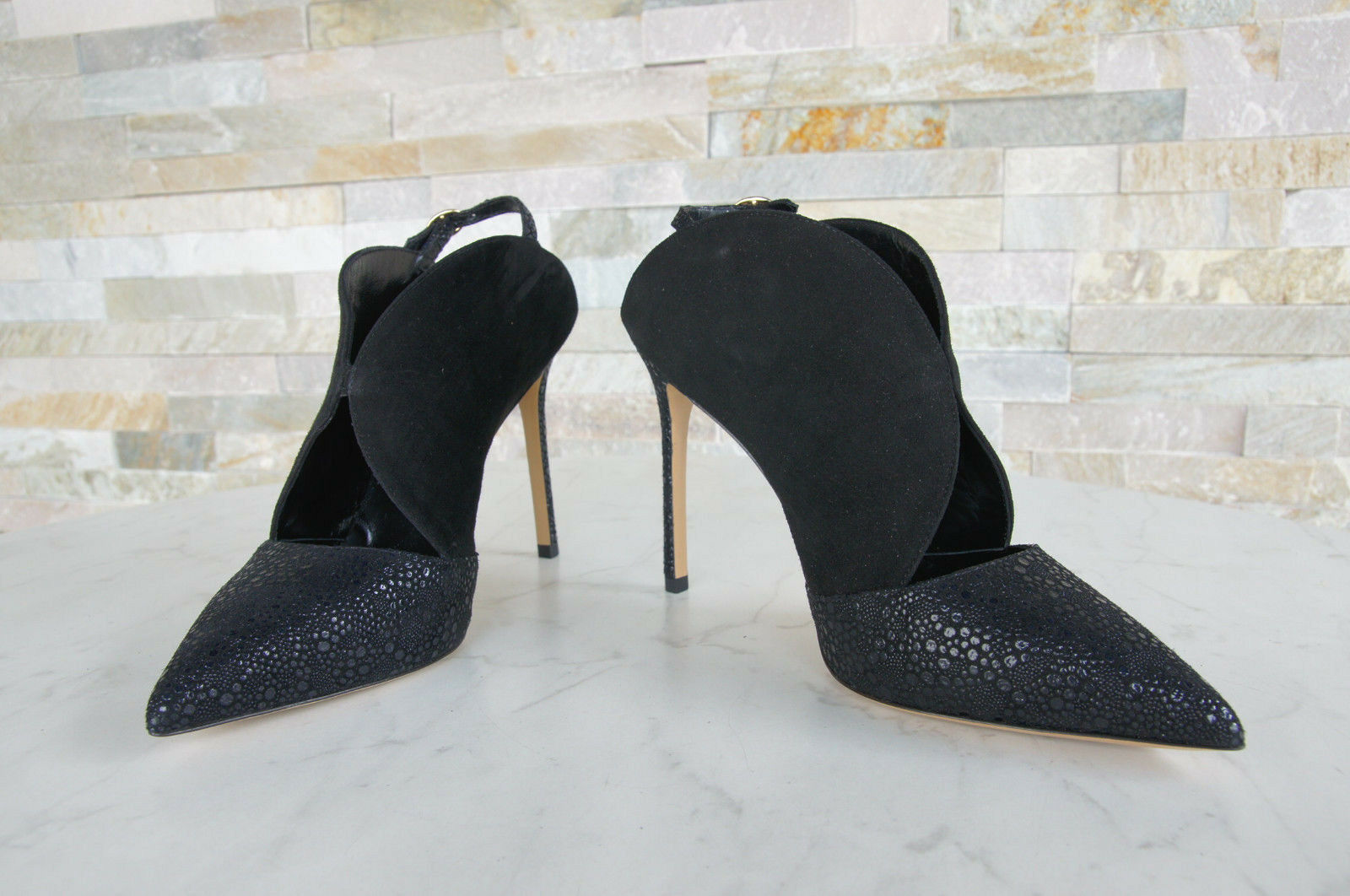 LUCIANO PADOVAN Gr 38,5 schwarz Pumps Slingbacks Schuhe Viper Heels schwarz 38,5 NEU e6a99d