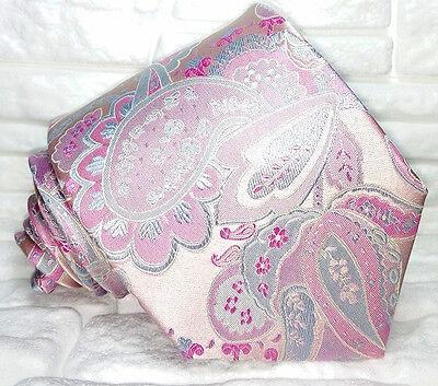 Costruttivo Cravatta Paisley Made In Italy 100% Seta Viola Rosa