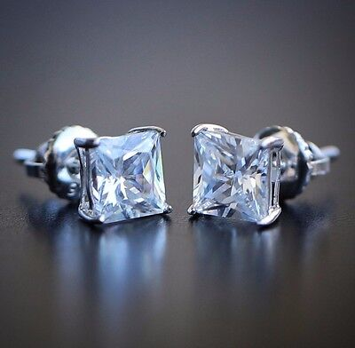 Stud Earring Princess Cut Simulated Blue Zircon 925 Sterling Silver