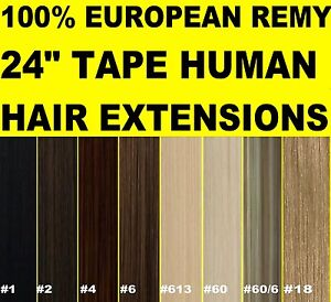 24-034-EUROPEAN-TAPE-SKIN-WEFT-REMY-HUMAN-HAIR-EXTENSIONS-Brown-Blonde-Black