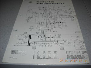 TELEFUNKEN Magnetophon automatic II Schaltplan | eBay