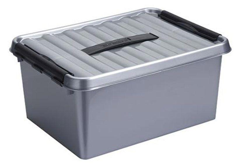 6 x SUNWARE Q-LINE BOX - 15 LITRI - 400 x 300 x 180mm-argentoo Nero