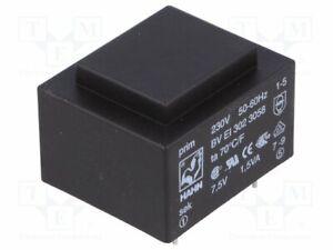 Transformador-Revestido-1-5VA-230VAC-7-5V-200mA-Montaje-PCB-Bv-Huevo-302-3058