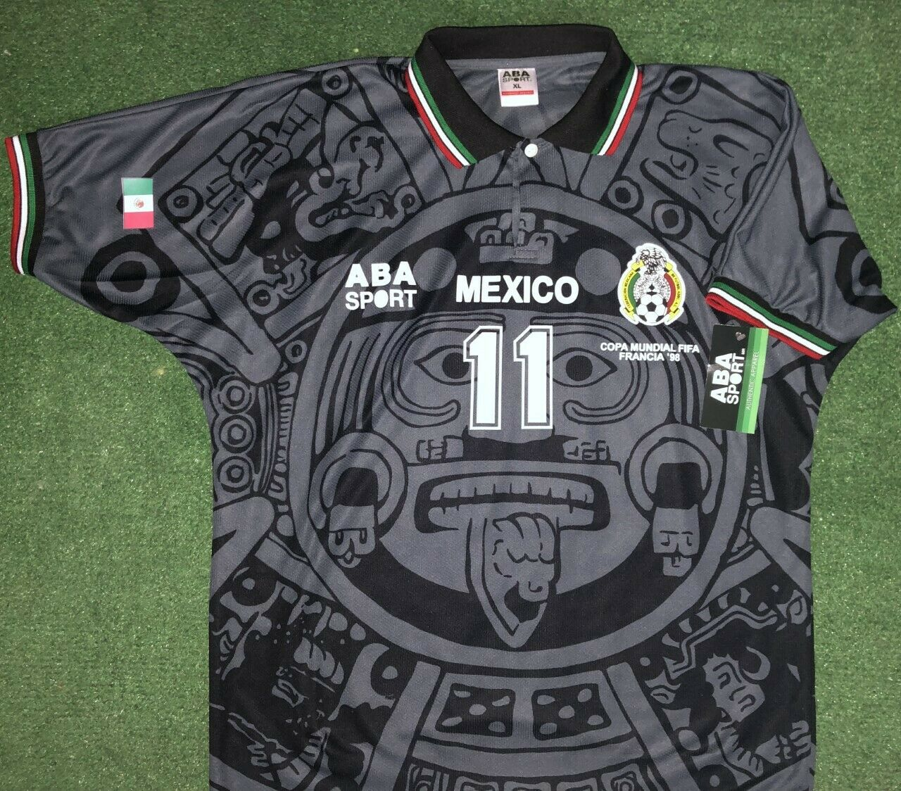 MEXICO 1998 CUAHOUTMOC B, GALA EDITION afmeting XL, AUTHENTISCHE SHIRT ABA SPORT