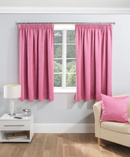 """1 Pair Of SERENITY Woven Design Thermal Block Out 3/"""" Pencil Pleat Lined Curtains"""