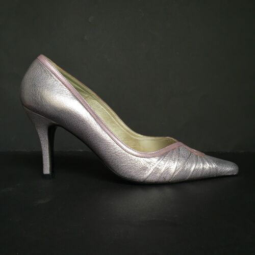 Orlando Saffron Baby Pink and Silver Two-Tone Pointed Toe Leather Court Shoes