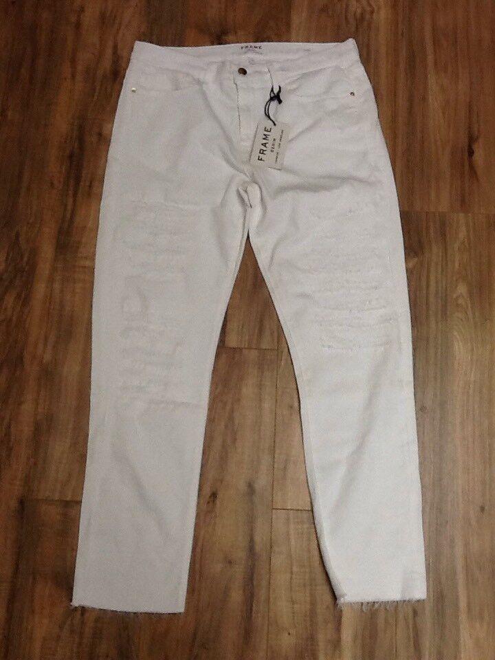 FRAME Women's Le Boy jean In white Mend Size 31
