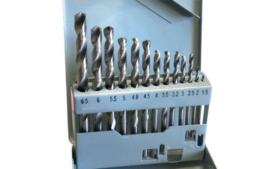 13 tlg HSS Metallbohrerset Spiralbohrerset Bohrerkasette Ø 1,5-6,5mm