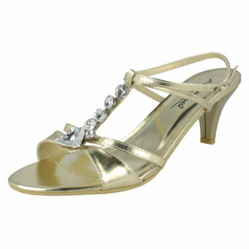 Ladies Michelle ornés Or talons Sandales de bijoux à Anne clair pprwC