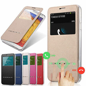 Slim-Flip-Window-View-Leather-Smart-Case-Cover-Skin-For-Samsung-Galaxy-iPhone-LG
