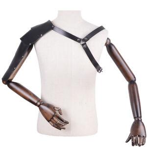 adjustable-men-039-s-faux-leather-body-armor-chest-restrain-harness-shoulder-039-buckND