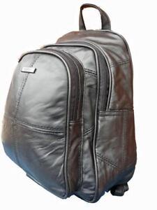 25ac42f0371 Details about Small Soft Leather Backpack Rucksack HandBag Black Premium  Leather Handbags 8591