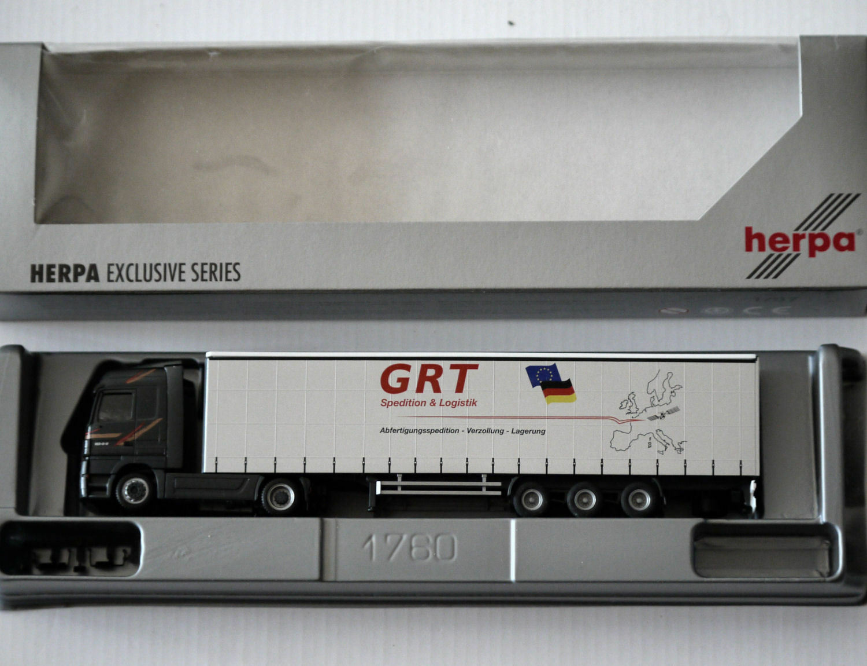 Herpa - MB Actros Actros Actros MP2 LH Gardinenplanen-Sattelzug - GRT Renz - 1 87   H0 - OVP 342589