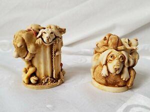 Harmony-Kingdom-Lidded-Trinket-Jars-Dog-Days-and-Nic-Nac-Paddy-Wac-Set-of-2