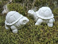 Turtle Pair, Concrete Turtle Statues, Small Garden Decor, Tortoise Figures, Art