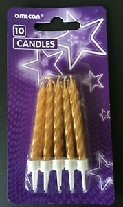 10 Gold Spiral Birthday Candles BUY 1 GET 1 FREE Free Delivery.