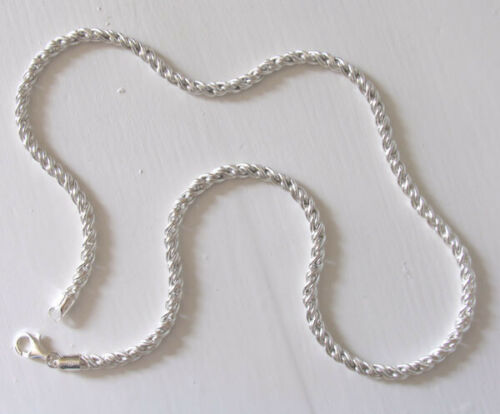 """Width 4mm Italian Sterling Silver Torcion Chain Necklace Lengths 18/"""" to 24/"""""""