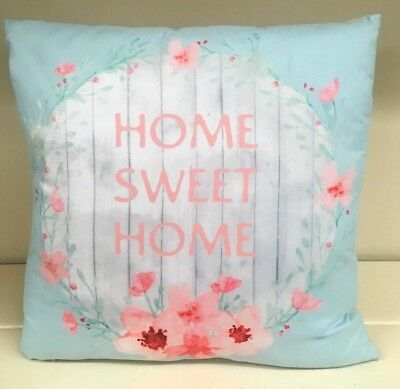 New Pale Blue Sweet Dreams Pink Flower Pattern Filled Complete Cushion 18x12cm