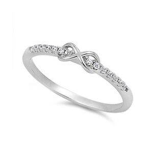 .925 Sterling Silver Infinity Twist Clear CZ Promise Ring Size 5 6 7 8 9 10 NEW
