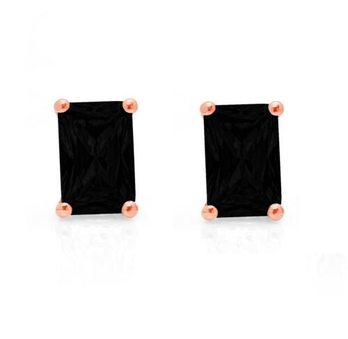Details about  /1.0ct Emerald Cut Natural Onyx gift Stud Earrings 14k Rose Gold Screw Back